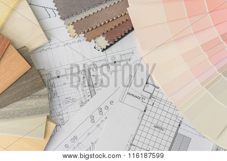 Interior Drawing With  Material Color Scheme