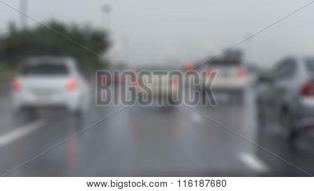 Blur Image Of Traffic Jam On Express Way In Rainning Day