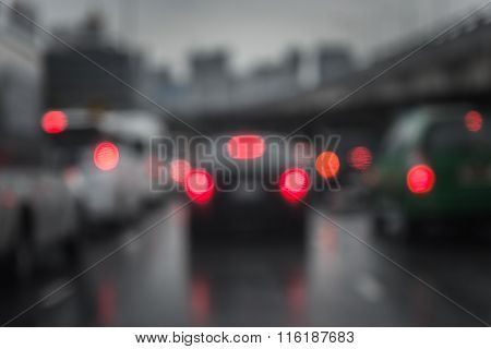 Defocussed Traffic Viewed Through A Car Windscreen