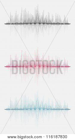 Three sound wave. Vector illustration. Isolated.