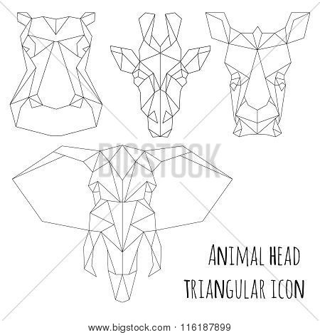 Animal head triangular icon-geometric  line design