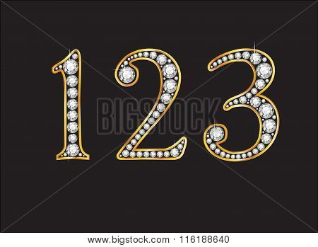 1, 2 And 3 Diamond Jeweled Font With Gold Channels