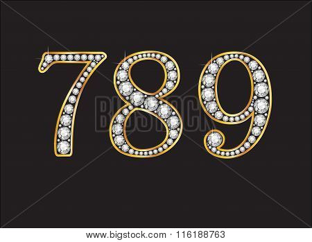 7, 8 And 9 Diamond Jeweled Font With Gold Channels