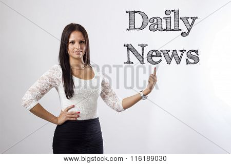 Daily News - Beautiful Businesswoman Pointing