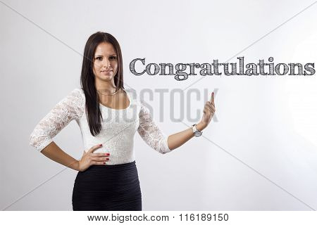 Congratulations - Beautiful Businesswoman Pointing