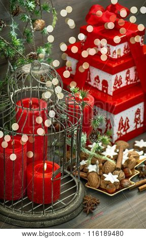 Christmas Decoration Gift Box Red Candles Cookies Lights