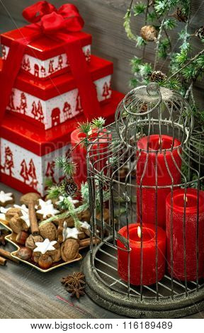 Christmas Decoration Gift Box Red Candles Cookies Vintage