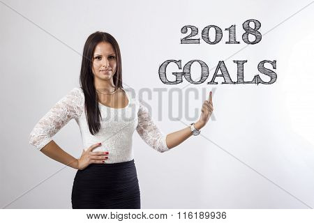 2018 Goals - Beautiful Businesswoman Pointing