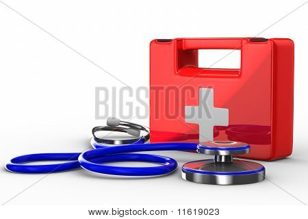 Stethoscope And First Aid On White Background. Isolated 3D Image