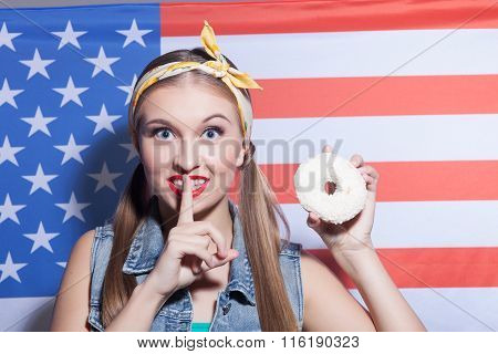 Attractive woman wants to eat sweet pastry secretly