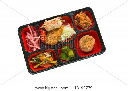 Japan Food Set Of Pork Fritter And Other In A Box Isolated On White / Japan Food (bento).