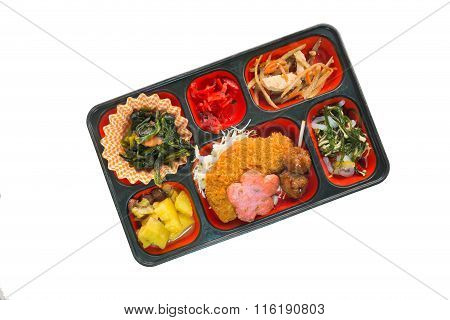 Japan Food Set Of Fish Fritter And Other In A Box Isolated On White / Japan Food (bento).