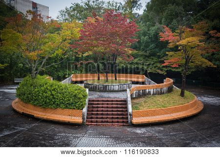 Japanese Garden Desolate Place In Autumn.