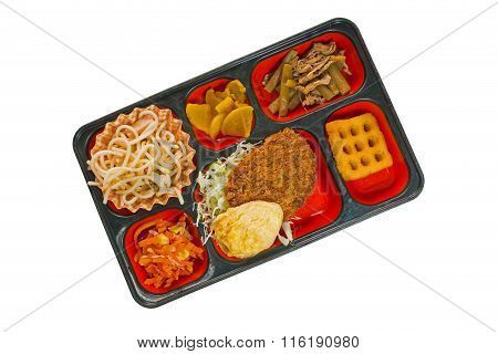 Japan Food Set Of Meat Fritter And Other In A Box Isolated On White / Japan Food (bento).