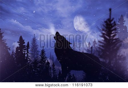 Howling Wolf In Wilderness