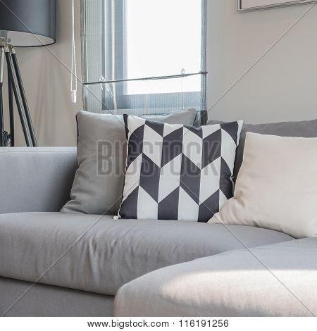 Modern Living Room With Black Abd White Pillows