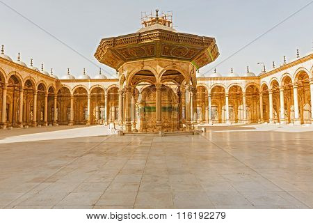 Cairo, Egypt - January 6, 2015: View at the inside of Mosque of Muhammad Ali in the Citadel of Saladin in Old Cairo Egypt