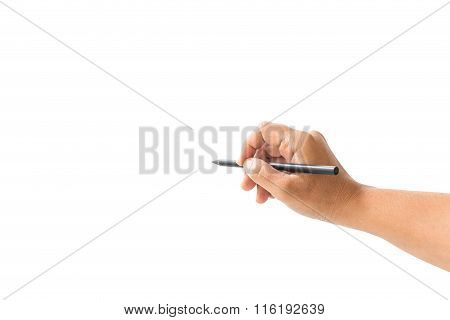 Close Up Hand Of Woman Holding Black Pencil Isolated On White