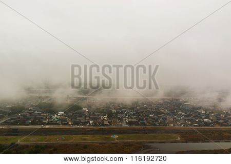 Countryside On Bird Eye View With Morning Fog.