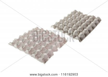 Grey Paper Tray For Egg Isolated On White