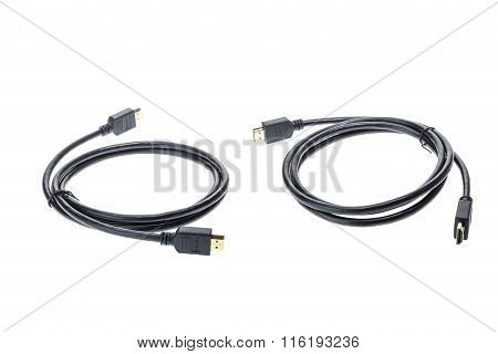 New Black Hdmi Cable Isolated On White