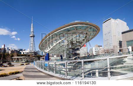 NAGOYA, JAPAN - January 30, 2016 : Oasis 21 in Nagoya, Japan on January 30, 2016.,Oasis 21 in Nagoya Japan city skyline with Nagoya Tower.