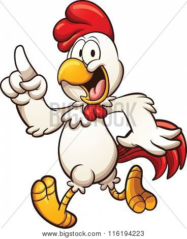Cartoon chicken walking. Vector clip art illustration with simple gradients. All in a single layer.