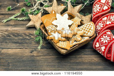 Christmas Ornaments And Gingerbread Cookies