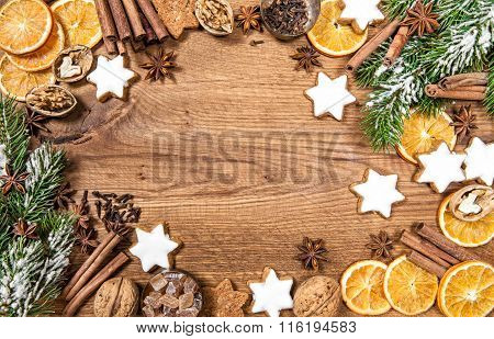 Christmas Cookies And Spices. Holidays Food Ingredients