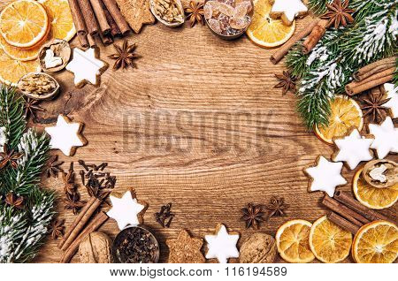 Christmas Decorations, Cookies Spices. Holidays Food Ingredients