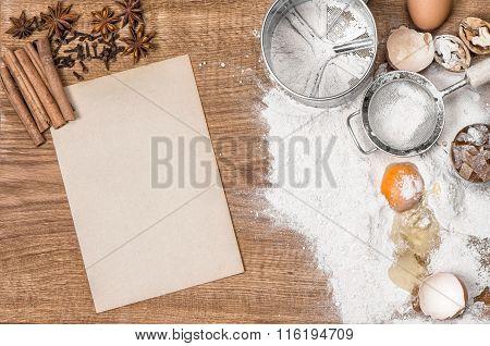 Food Background. Baking Tools Ingredients. Recipe Book