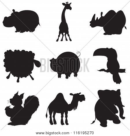 Illustration Of Animation Silhouettes Of Animals For The Children's Book Of Riddles