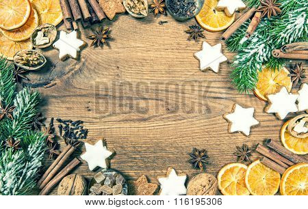 Christmas Cookies And Spices. Holidays Food. Vintage Style