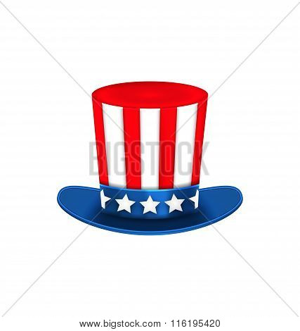 Uncle Sam's Hat for American Holidays, Isolated on White Background