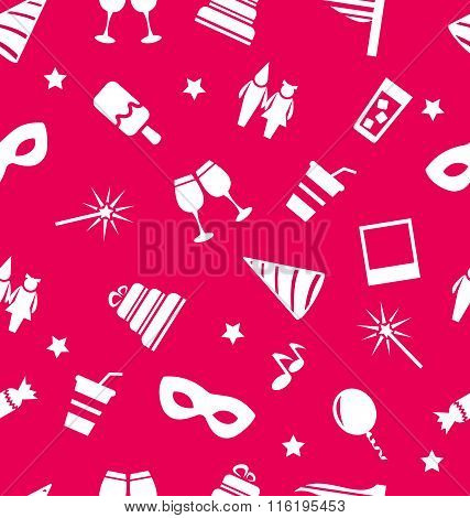 Carnival holiday objects seamless pattern