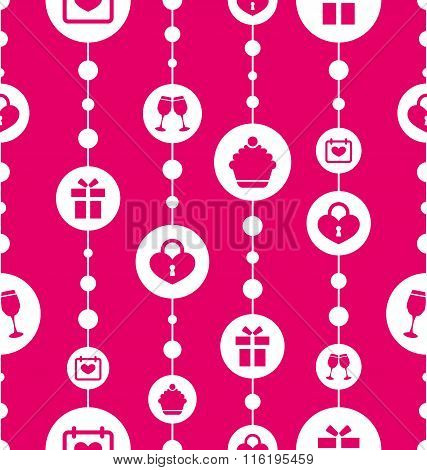 Seamless Pattern with Traditional Objects and Elements for Valen