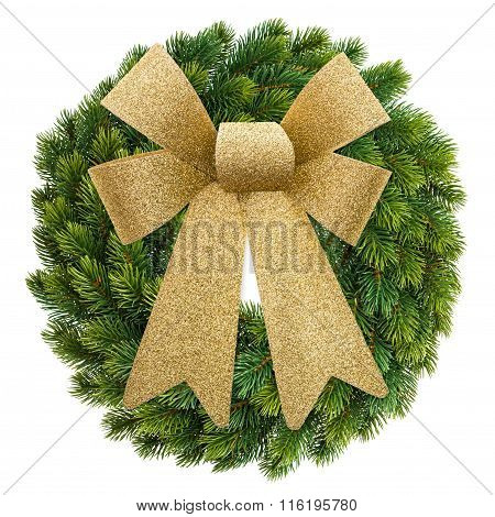 Christmas Decoration Evergreen Wreath With Golden Ribbon