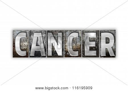 Cancer Concept Isolated Metal Letterpress Type