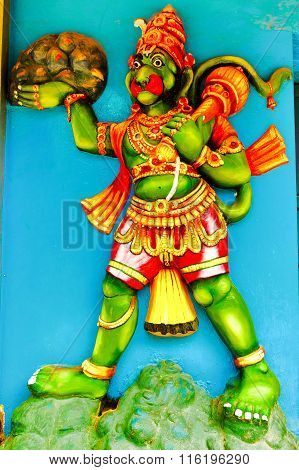 Statue of Lord Hanuman in gigantic form carrying Dronagiri mountain containing Sanjivini herb