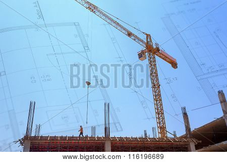 Construction Site With Crane On Blue Sky