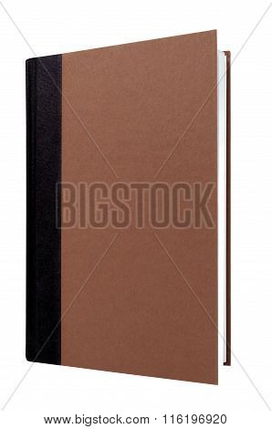 Brown Hardcover Book Black Spine Front Cover Upright Vertical Isolated On White