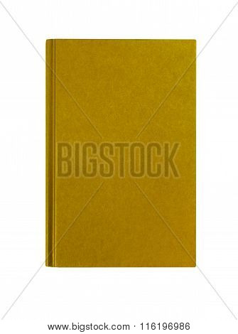 Manila Yellow Textbook Front Cover Standing Vertical Isolated On White Background, Copy Space