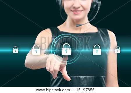 business technology and internet concept - businesswoman ressing button on virtual screens.