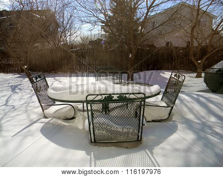 Snow Covers a Patio