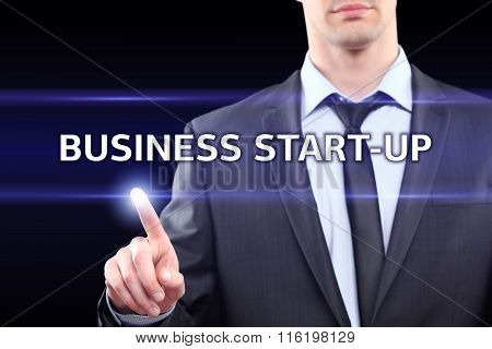 Businessman working digital virtual screen press on button Business start up