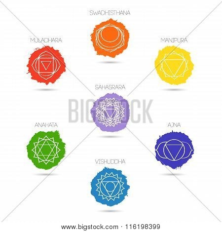 Isolated on white background illustration seven chakras set the symbol of Hinduism Buddhism. Hand painted texture. For design associated with yoga and India.