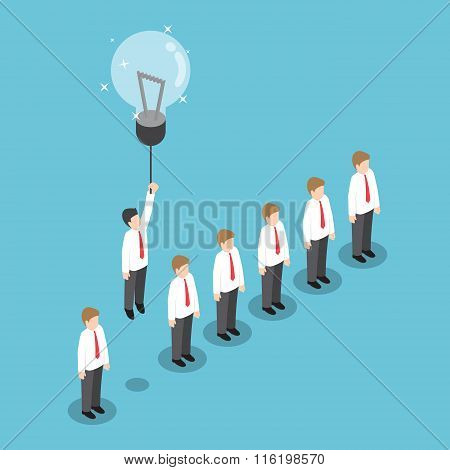 Businessman Flying Out From The Crowd By Light Bulb Of Idea