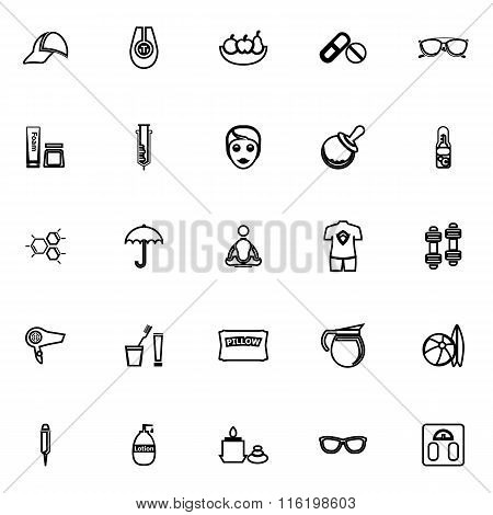 Facial And Body Treatment Line Icons On White Background