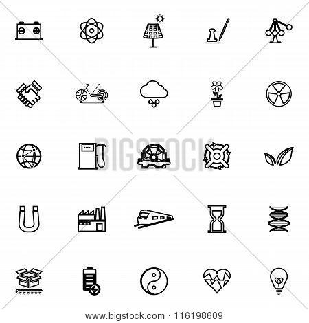 Renewable Energy Line Icons On White Background