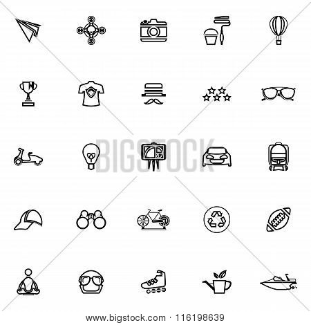 Hipster Line Icons On White Background